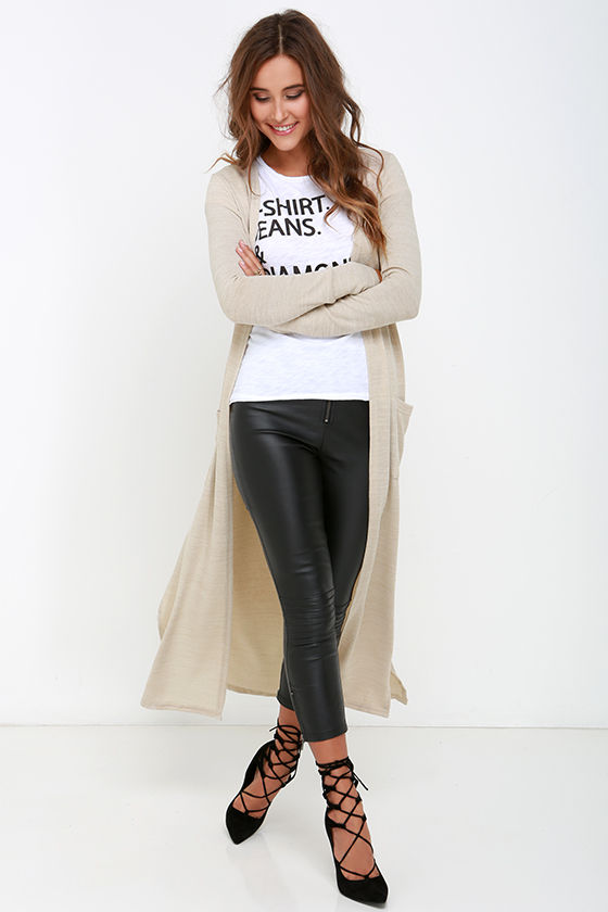 Cute Beige Sweater - Long Sleeve Sweater - Long Cardigan - $44.00