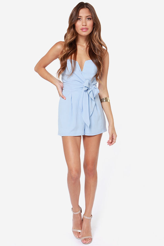 45218325c0b5 LULUS Exclusive Tie it all Together Light Blue Romper