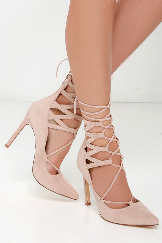d82e1e1ceb Sexy Nude Pointed Heels - Lace-Up Heels - Vegan Suede Heels