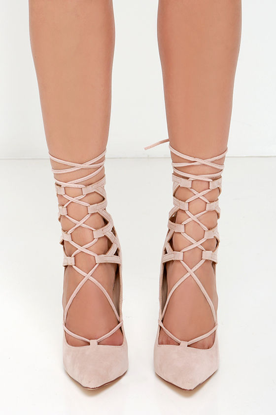 3db3ee256a4 Sexy Nude Pointed Heels - Lace-Up Heels - Vegan Suede Heels
