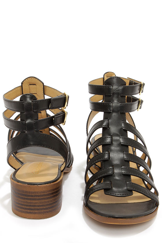 City Classified Tab Black Caged Sandals at Lulus.com!