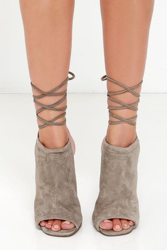 398e3cfa8c9 Sexy Taupe Heels - Leg Wrap Heels - Leg Wrap Sandals -  129.00