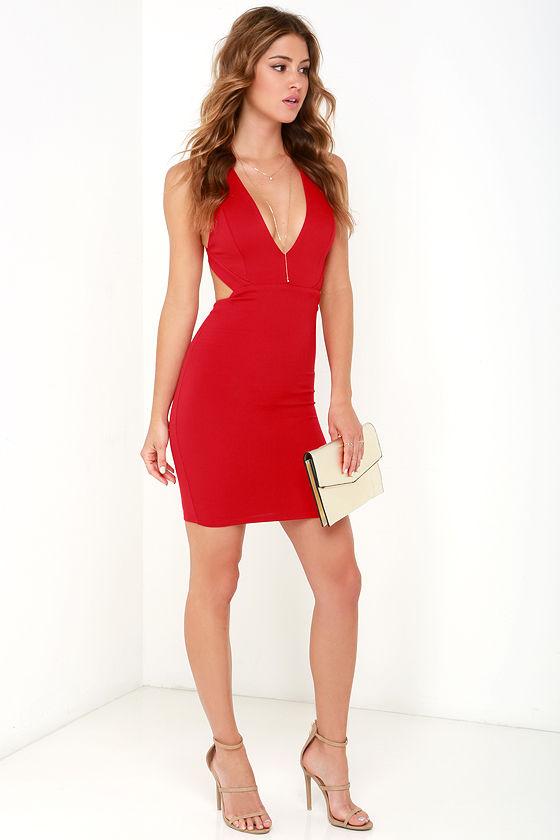 f13346682d3 Red Dress - Bodycon Dress - V Neck Dress - Backless Dress - $52.00