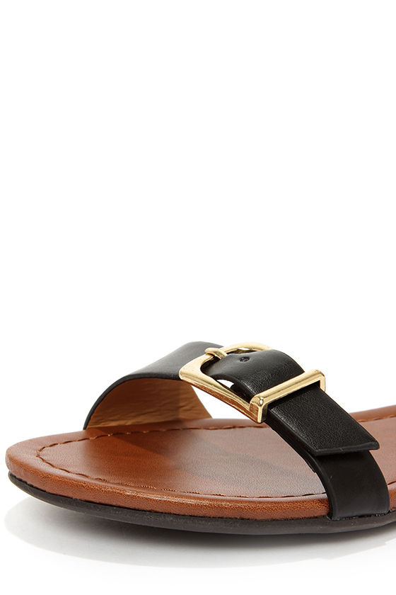 Soda Klim Black Ankle Cuff Sandals at Lulus.com!