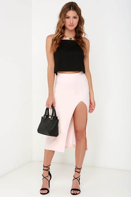 Pretty Pale Blush Skirt - Midi Skirt - High-Waisted Skirt - Pencil ...