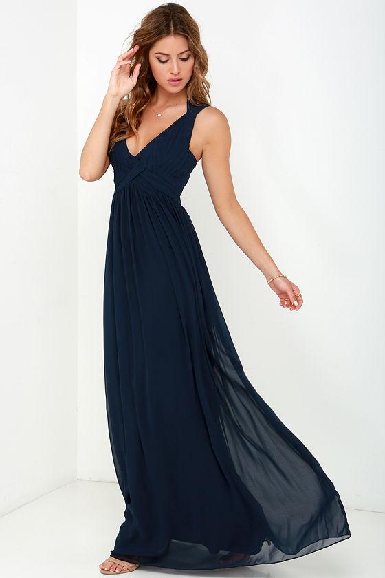 Maxi Dress - Backless Dress - Navy Blue Dress - $88.00