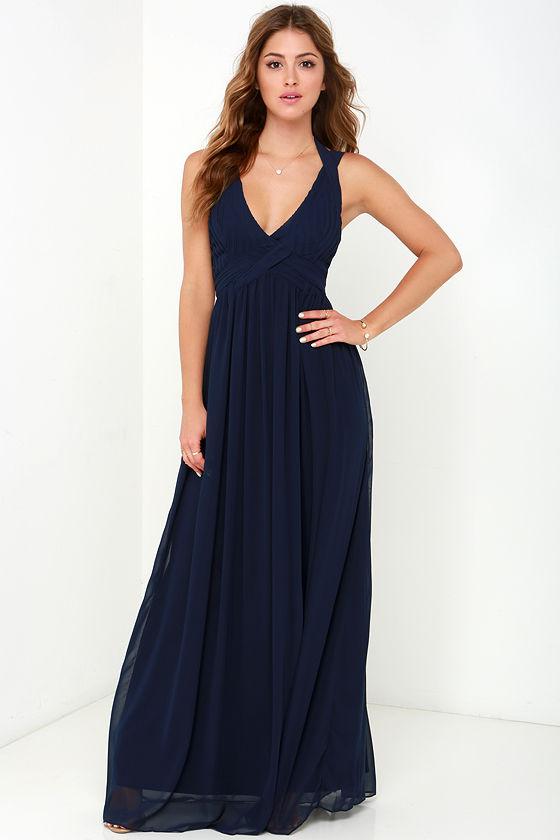 7833de03f3d Maxi Dress - Backless Dress - Navy Blue Dress -  88.00