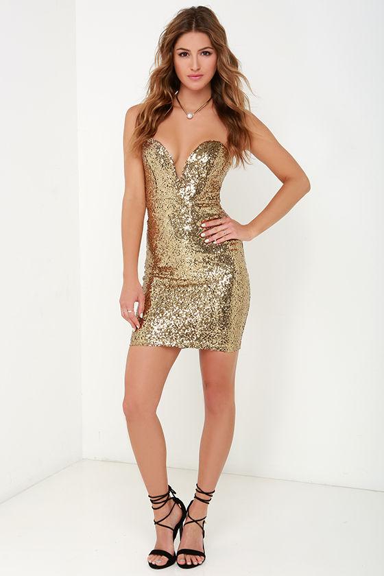 Sequin Dress - Gold Dress - Strapless Dress - $64.00
