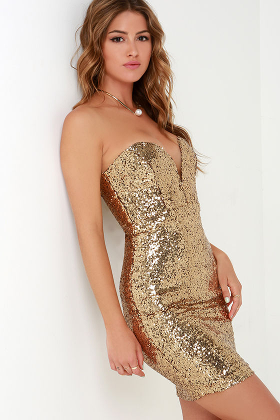 Sequin Dress - Gold Dress - Strapless Dress - $64.00