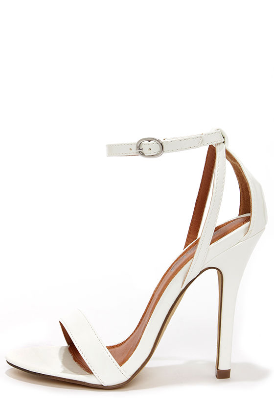 Pretty White Heels - Single Strap Heels - Ankle Strap Heels - $30.00