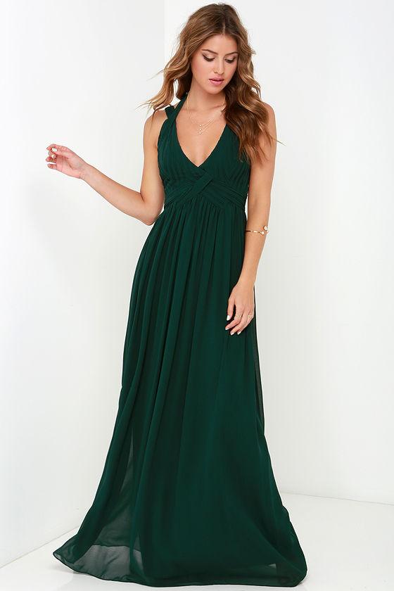 Maxi Dress - Backless Dress - Dark Green Dress - $88.00