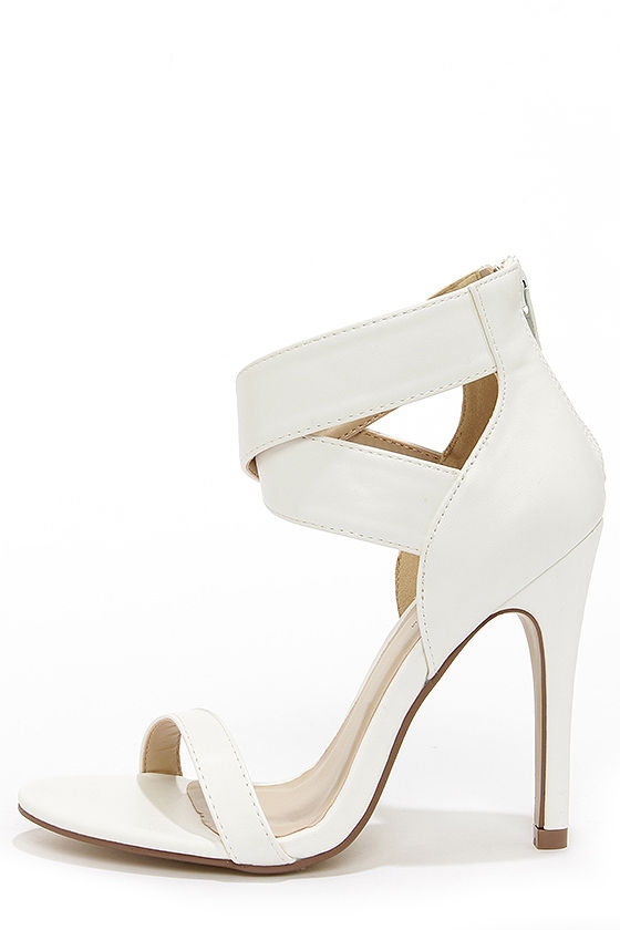 Pretty White Heels - Single Strap Heels - Ankle Strap Heels - $29.00