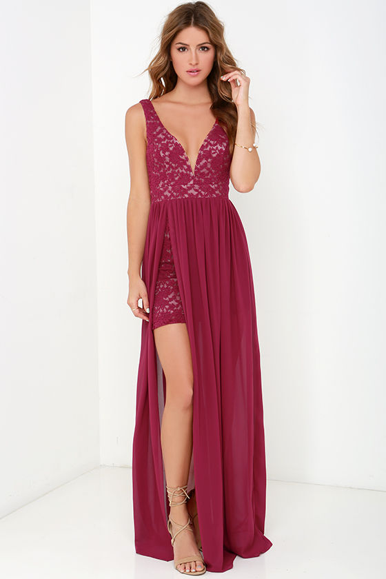 Lovely Berry Red Dress - Lace Maxi - Homecoming Dress - $77.00