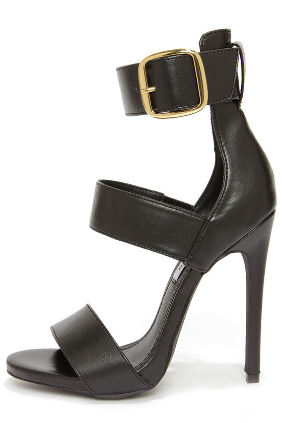 Steve Madden Mysterii Black Ankle Strap Dress Sandals at Lulus.com!