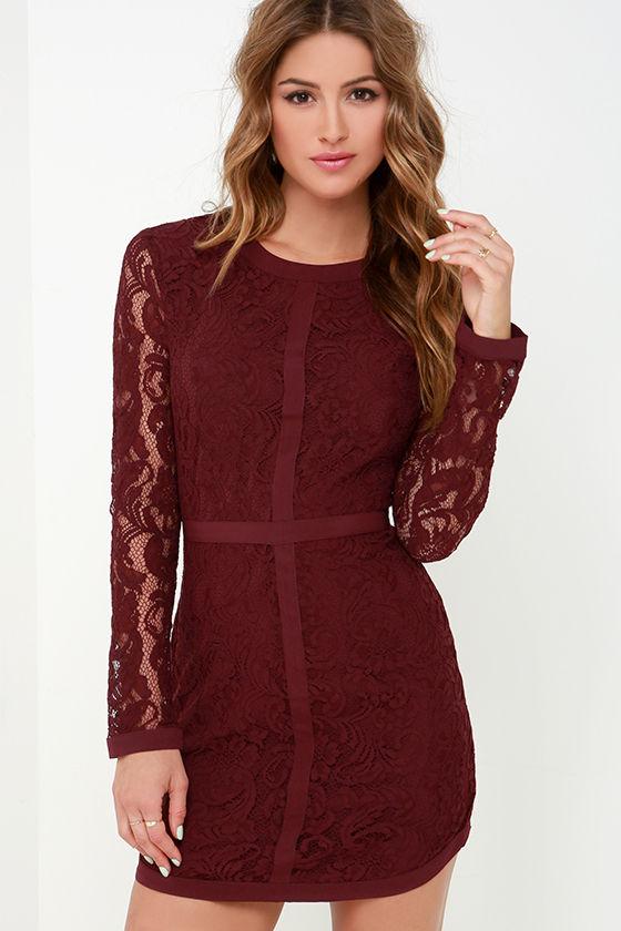 50c9c537f66 Pretty Burgundy Dress - Long Sleeve Dress - Lace Dress -  126.00