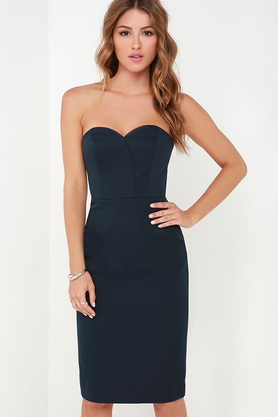 Finders Keepers Delirium Dress - Midnight Blue Dress - Strapless ...