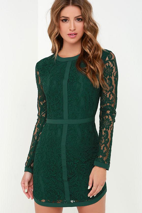 Pretty Dark Green Dress - Long Sleeve Dress - Lace Dress - $126.00