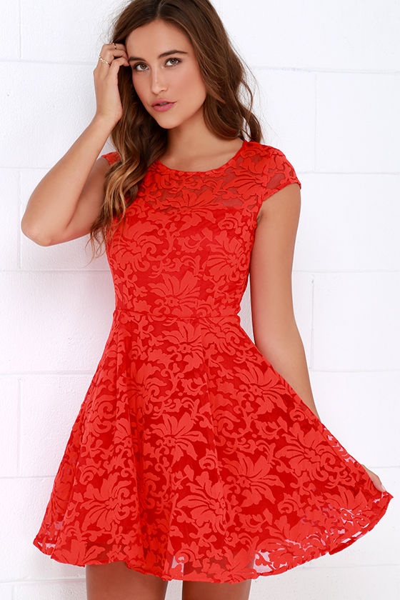 c840aee3923 Coral Red Dress - Skater Dress - Jacquard Dress - Fit-and-Flare Dress -   58.00