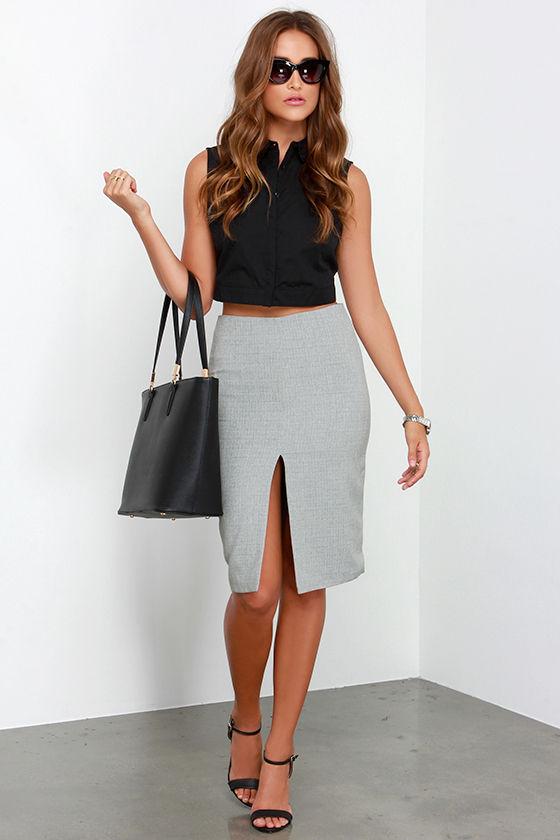 Chic Grey Skirt - Pencil Skirt - Midi Skirt - High-Waisted Skirt ...