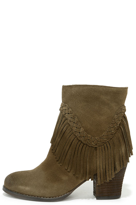 d1424df1a Cute Suede Boots - Fringe Booties - Ankle Boots - Fringe Boots - $109.00
