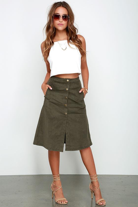 Olive Skirt - A-Line Skirt - Midi Skirt - Corduroy Skirt - $48.00