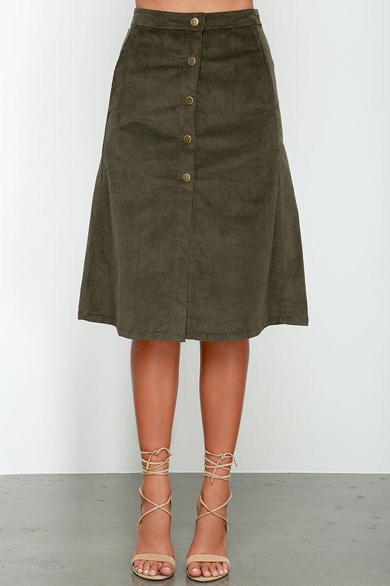olive skirt a line skirt midi skirt corduroy skirt