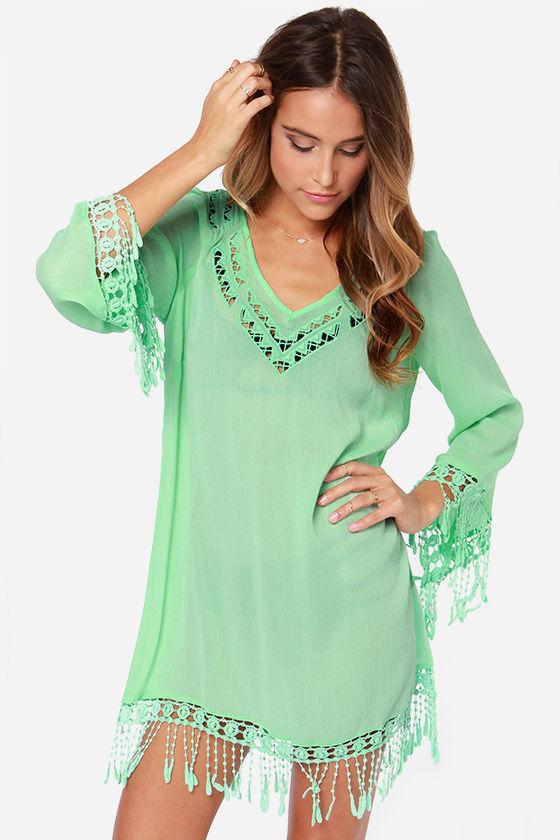 3f6b6cb5eb011 Cute Mint Green Dress - Mint Green Cover-Up - Swim Cover-Up -  49.00
