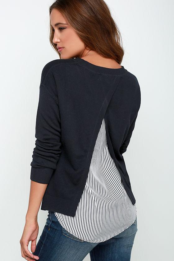 Midnight Blue Sweater - Striped Sweater - $48.00