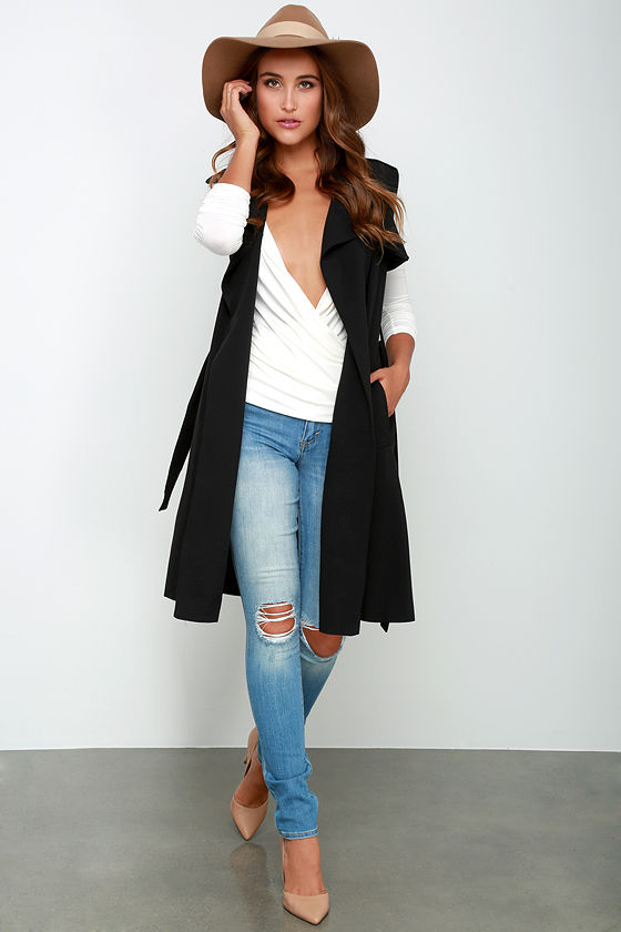 Chic Black Sleeveless Coat Sleeveless Trench Coat