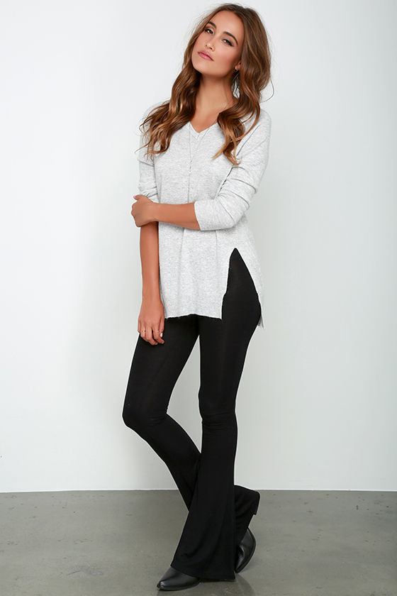 Cute Black Leggings Black Flare Leggings Jersey Knit