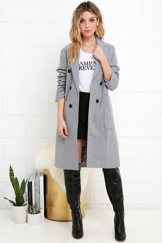 Stylish Grey Coat - Felted Coat - Long Jacket - $68.00