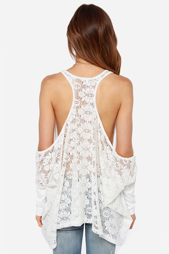 Divide and Conquer Ivory Lace Top at Lulus.com!