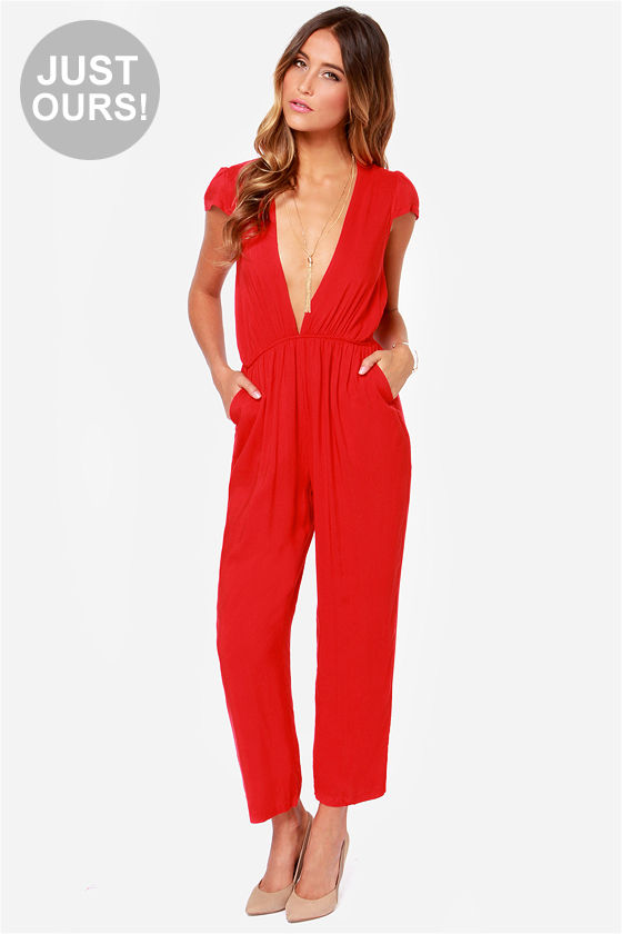 dbdc2e075414 Cute Red Jumpsuit - Cropped Jumpsuit -  56.00