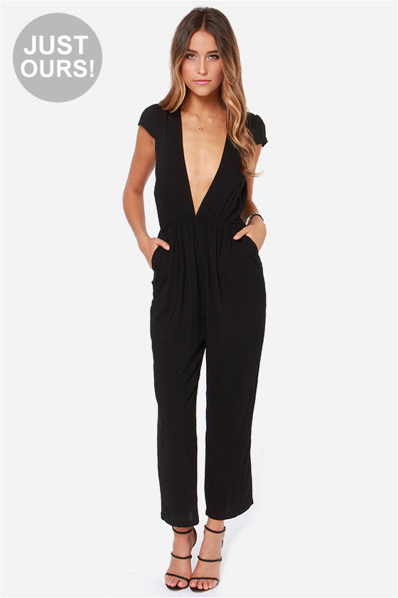 Cute Black Jumpsuit - Cropped Jumpsuit - $56.00