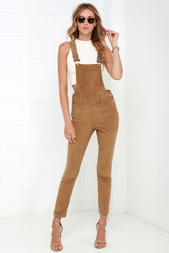 4fee94262a4 Corduroy Overalls - Tan Overalls - High-Waisted Overalls -  58.00