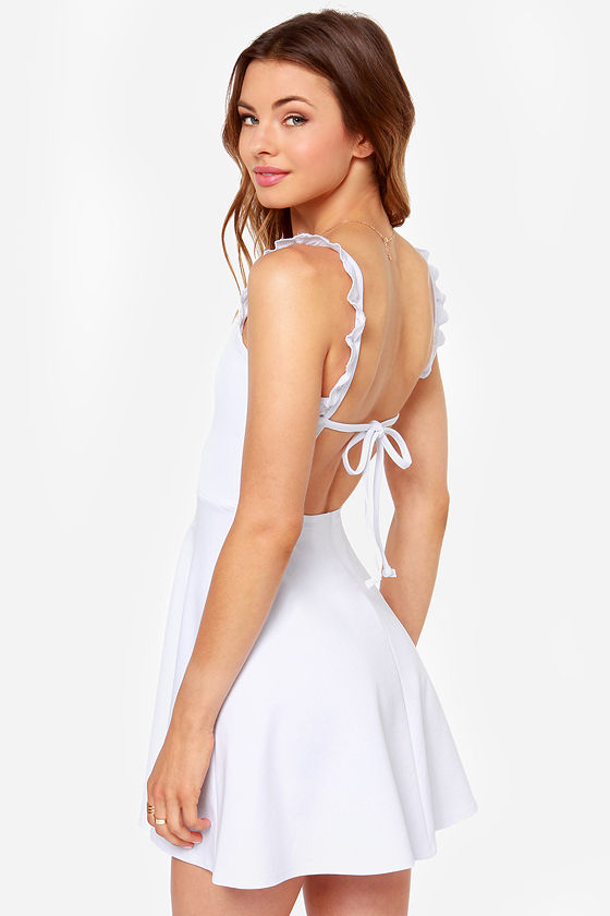 Pretty White Dress - Skater Dress - Backless Dress - $36.00