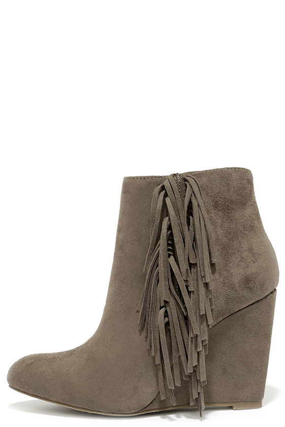 Cute Taupe Booties - Fringe Booties - Wedge Booties - $69.00