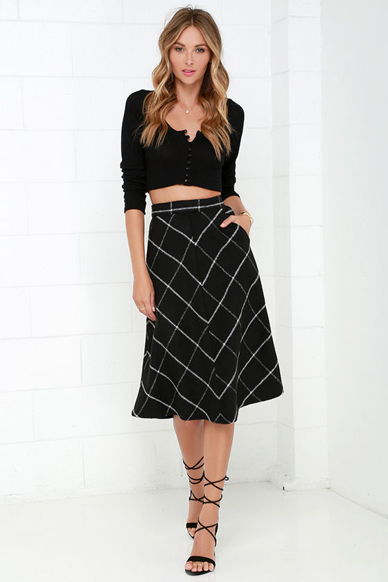 Chic Black Skirt - Plaid Skirt - Midi Skirt - High-Waisted Skirt ...