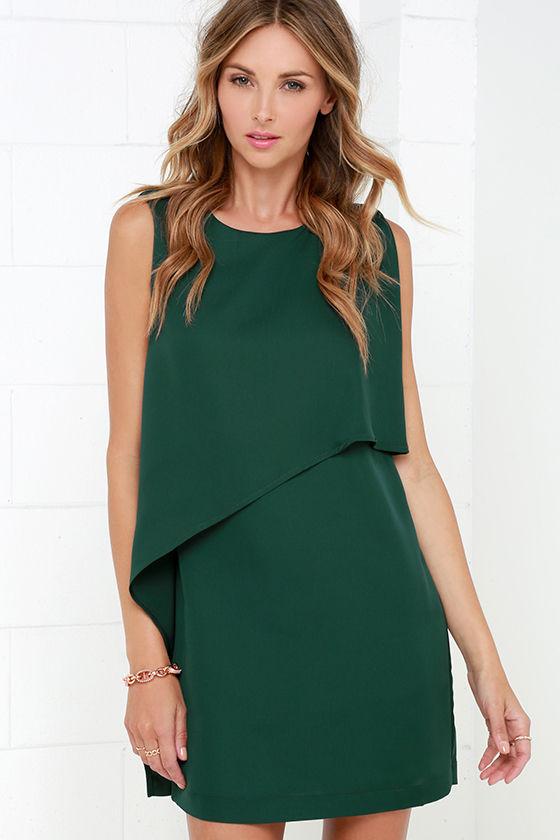 Dark Green Dress - Shift Dress - Sleeveless Dress - $49.00