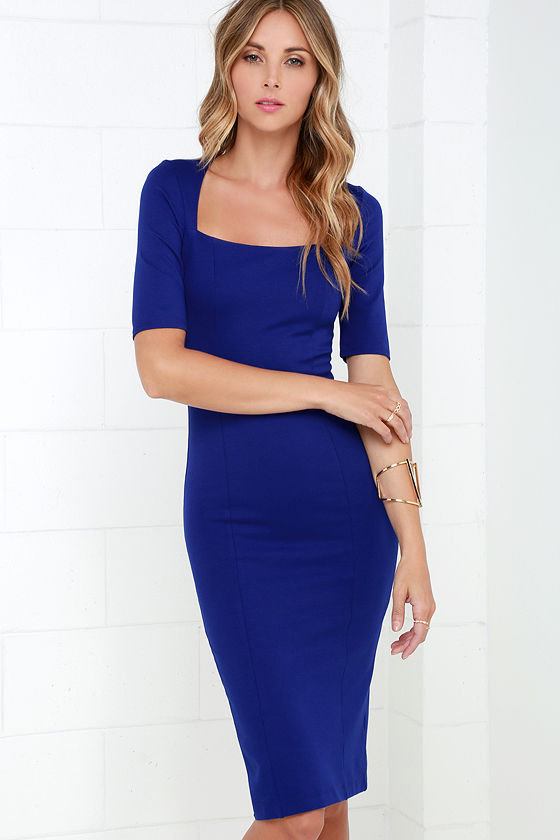 Royal Blue Dress - Midi Dress - Bodycon Dress -  46.00 1bca1aea70a4