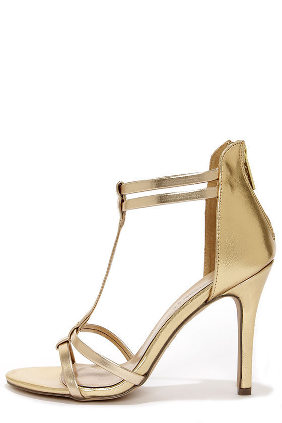Sydney 22 Gold T Strap High Heel Sandals at Lulus.com!
