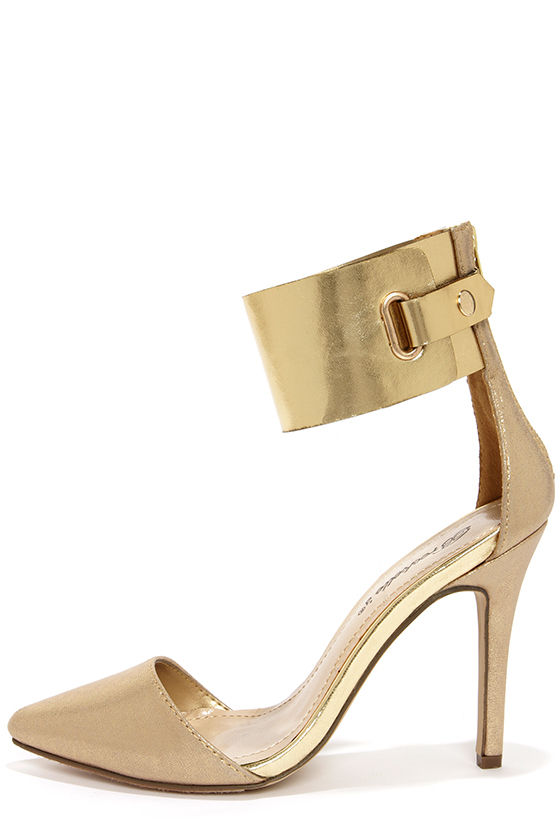 Cute Gold Heels - Ankle Cuff Heels - Pointed Pumps - $28.00