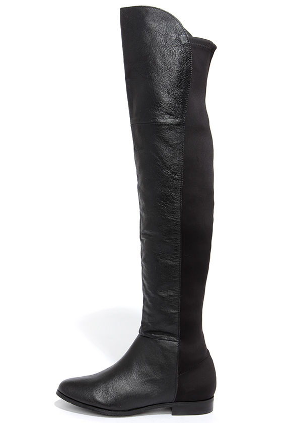 8f1d2925e3d Cute Black Boots - Leather Boots - Over the Knee Boots - OTK Boots -  99.00