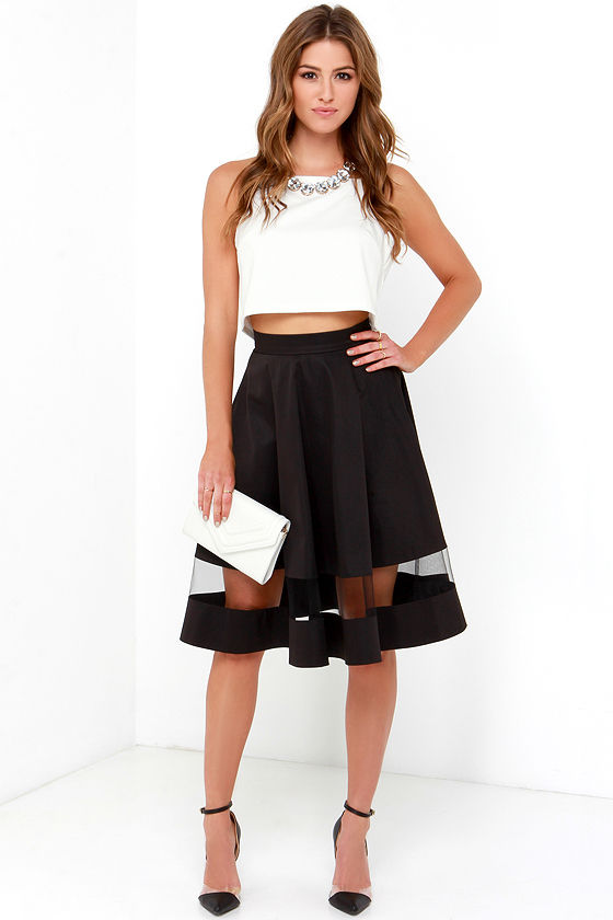 Chic Black Skirt - Midi Skirt - Mesh Skirt - High-Waisted Skirt ...