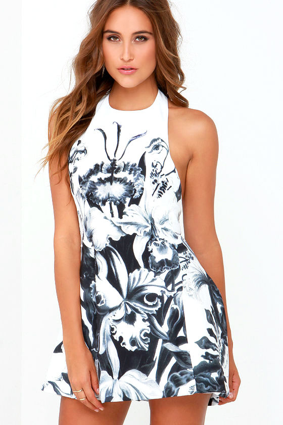 Cute Black And White Dress Floral Print Dress 5700