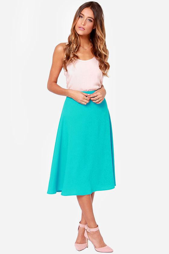blue skirt midi skirt aqua skirt 44 00
