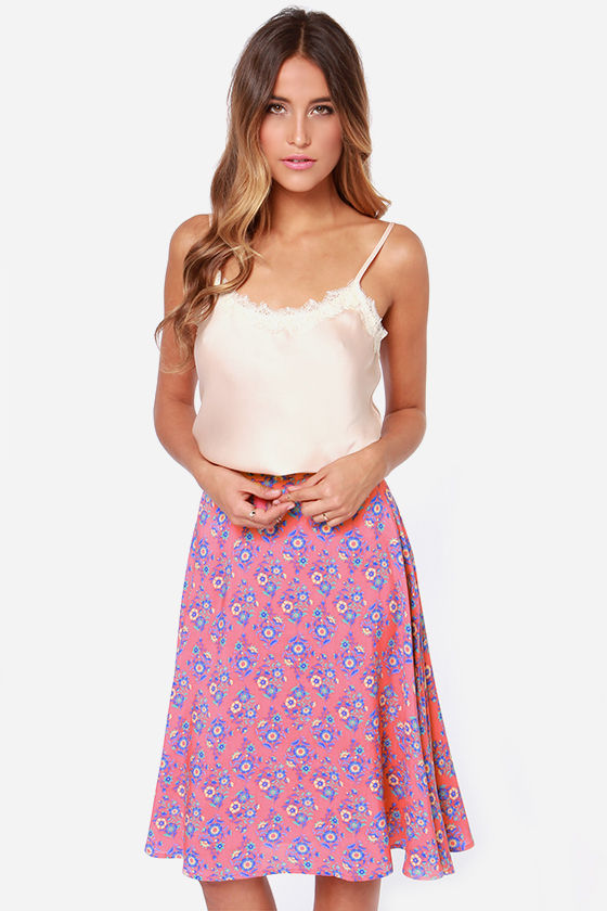 Bed of Posies Coral Floral Print Midi Skirt at Lulus.com!