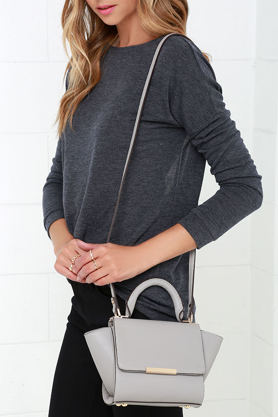 3112be2cf Chic Grey Purse - Vegan Leather Handbag - Winged Handbag - Mini Handbag -  $45.00