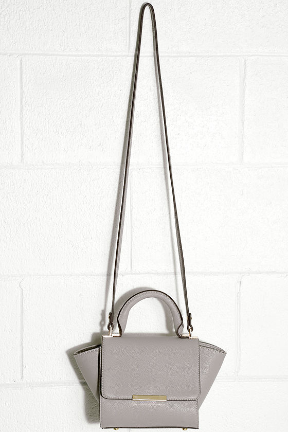 40cae9813 Chic Grey Purse - Vegan Leather Handbag - Winged Handbag - Mini ...