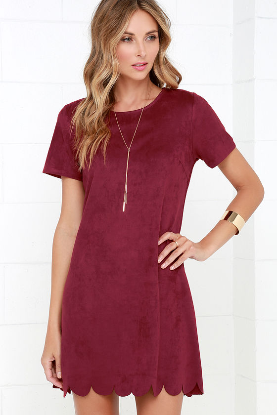 f6a667cc20e Chic Burgundy Suede Dress - Shift Dress - Scalloped Dress -  58.00